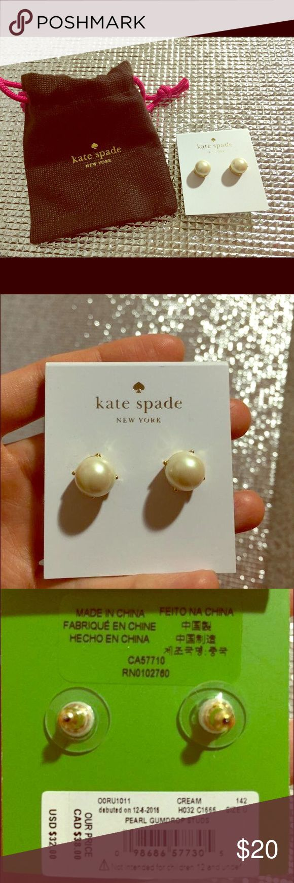 kate sapde earrings Brand new Kate spade pearl earrings. With original Kate spade little gift bag. kate spade Jewelry Earrings