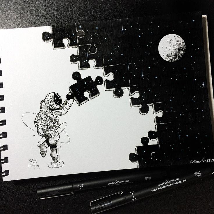 Magnifique dessin dans l'espace qui représente un puzzle pas fini avec un a…