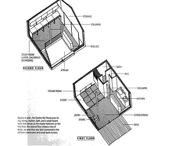 Sumire Aoi House that is designed by Makoto Koizumi Floorplans