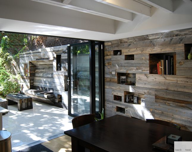 Recycled timber feature wall from inside to out for Interior home features
