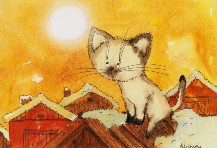 Открытки, коты открытках