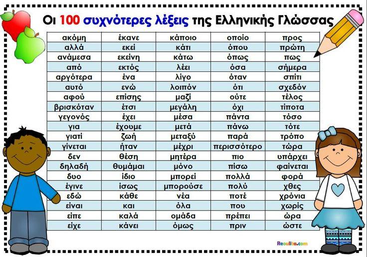 Οι 100 πιο συχνές λέξεις της Ελληνικής Γλώσσας