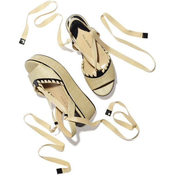 Paul Andrew Dafni Platform Sandal Goop ❤ liked on Polyvore featuring shoes, sandals, patent leather shoes, platform shoes, patent sandals, patent leather sandals and tie sandals