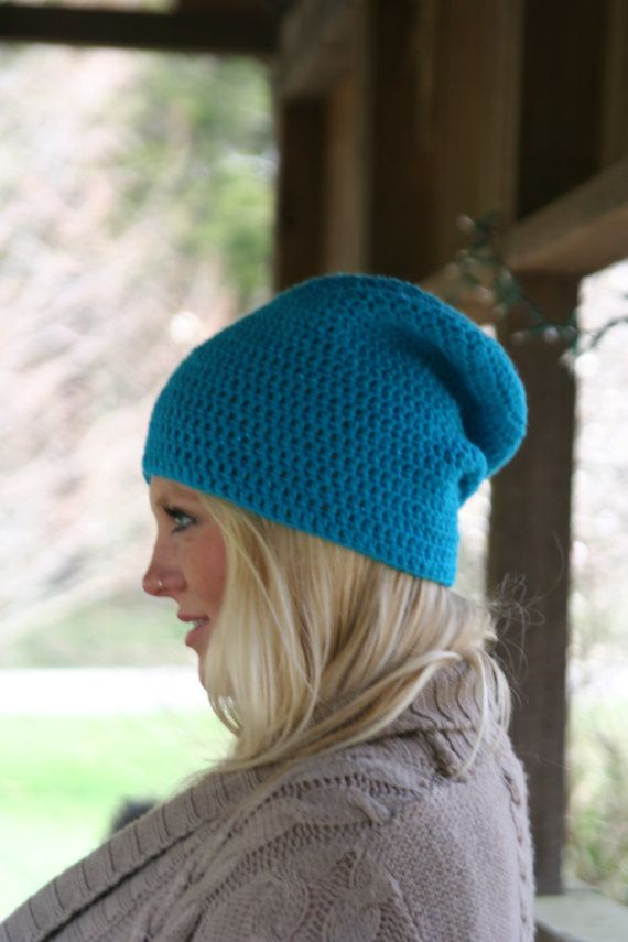 Slouchy Beanie Hat Crochet Shimmer Spring Beanie by crochetgallery, $22.00