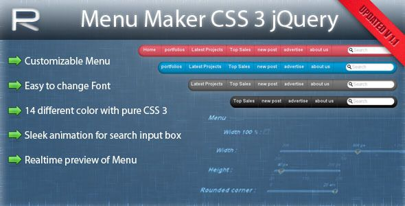 MENU MAKER CSS3 jQuery on Pinterest