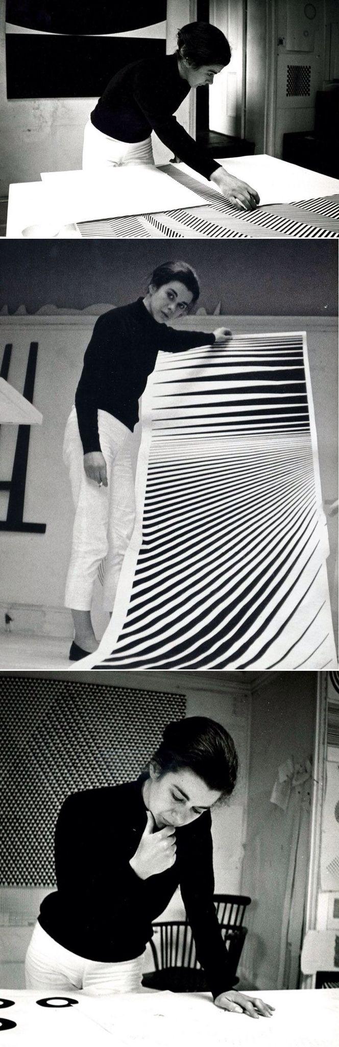 """Bridget Riley - artista de """"OP ART"""" (Optical Art). As suas obras serviram de inspiração à moda."""