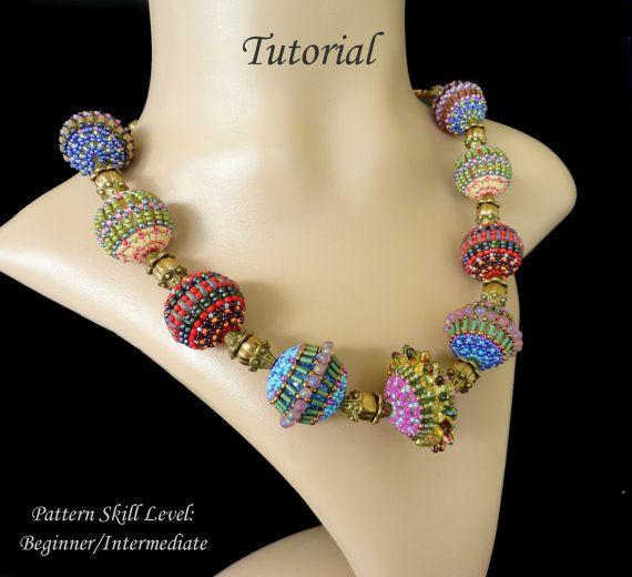 Beaded bead beading tutorial instructions - beadweaving pattern beaded seed bead jewelry - beadwoven beadwork - FIVE BEADED BEADS