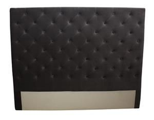 King-Bed-Head-w/Buttons-Dark-Grey-Velvet-190cmWx9c-(BF0078)