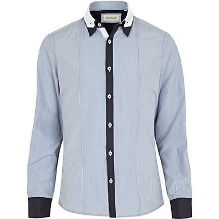 blue contrast placket shirt - long sleeve stripe shirts - shirts - men - River Island