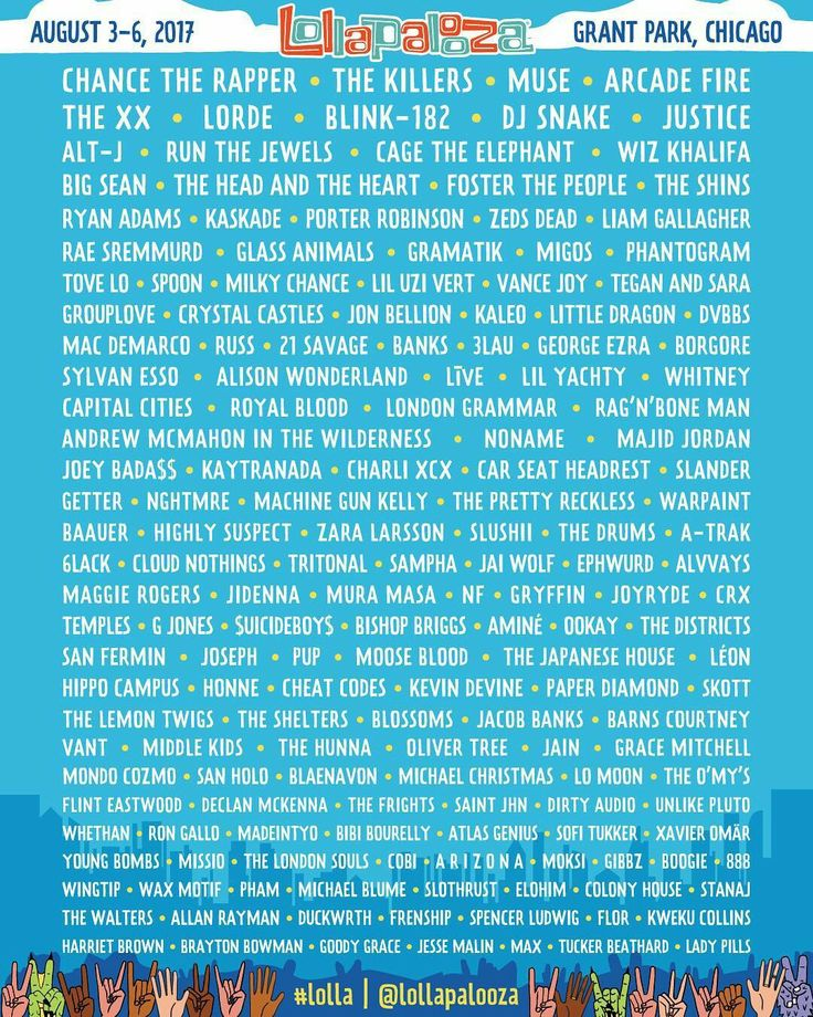 Here is the 2017 Lollapalooza line up taking place in Chicago from the 3rd to 6th August