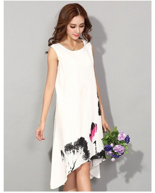 91acf3eb055 M - 6XL Summer Dress 2018 New Vestido Casual Dresses Women Chinese Linen  Vintage Dress Ladies