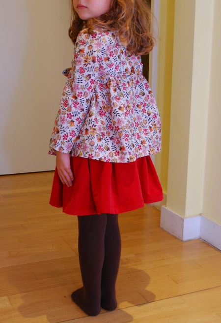 Fall colors - Liberty blouse and corduroy skirt (papillon patterns) by SisforSewing