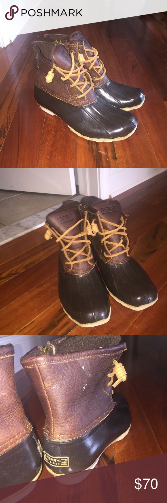 "Sperry top-sider ""Duck Boots"" Woman's size 7 Sperry ""duck boots"" for winter. They zip on the side. They are brown. In very very good condition, worn only twice. Waterproof material near the foot and also had fur on the inside. Very warm! There is a small spot on the side of one boot on the outside, the bottoms are a little discolored but other than that they are perfect. Let me know if you have any questions! They are the Sperry version of ""bean boots"" from LLBean Sperry Top-Sider Shoes…"