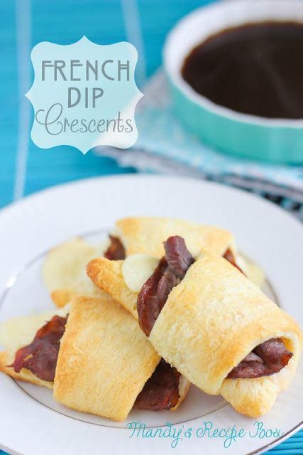 French Dip Crescents - These Crescent French Dips are a cinch to put together. Keep these items on hand and there is no excuse for being too busy to cook for your family! Just add a side salad or some french fries and you are ready.