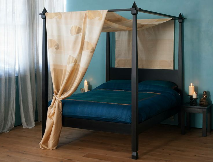 Raj colonial style four poster bed natural bed company for Four poster wooden beds