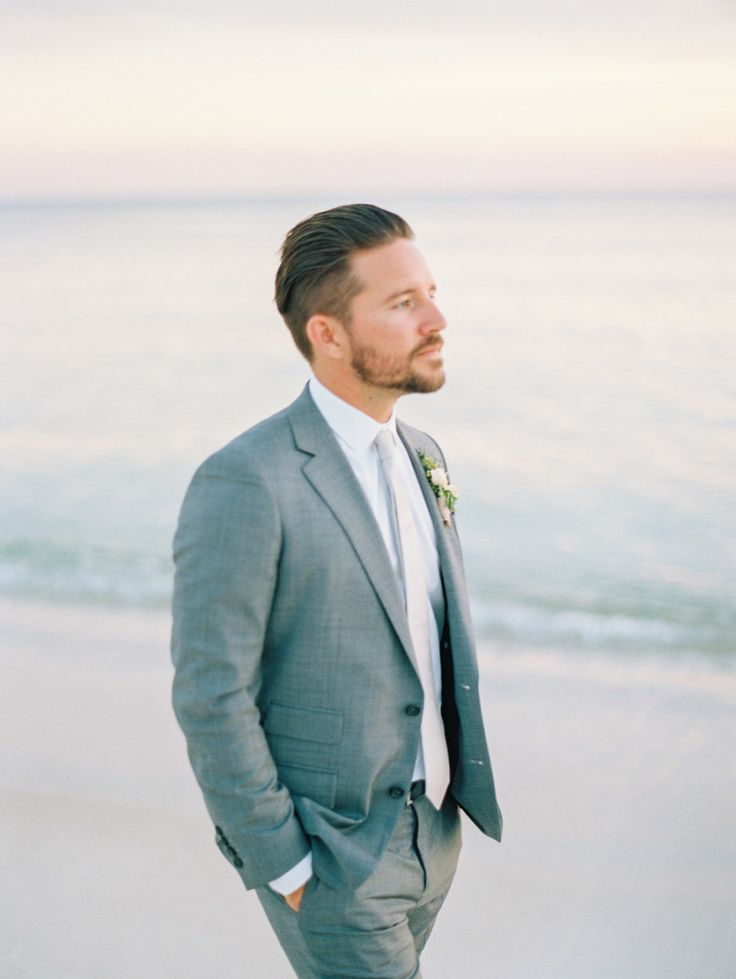 great groom style | light grey suit and classic neck tie | Modern Minimalist Rosemary Beach Wedding in Florida