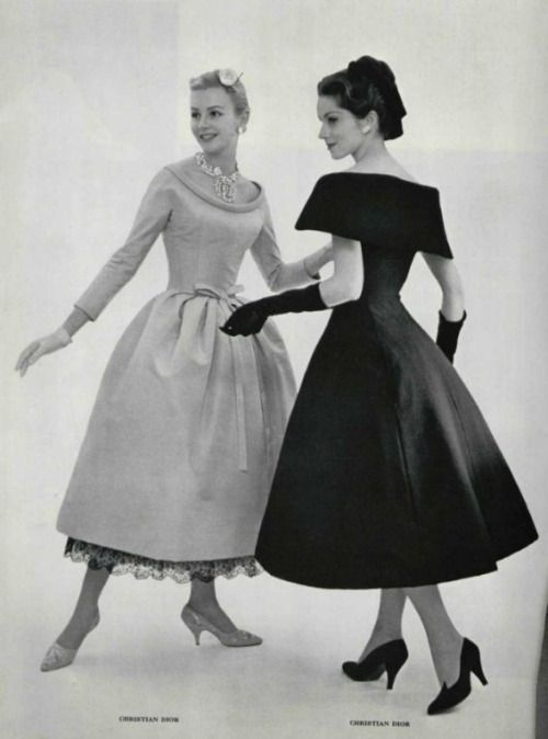 Cocktail dress fashions by Dior, 1957.