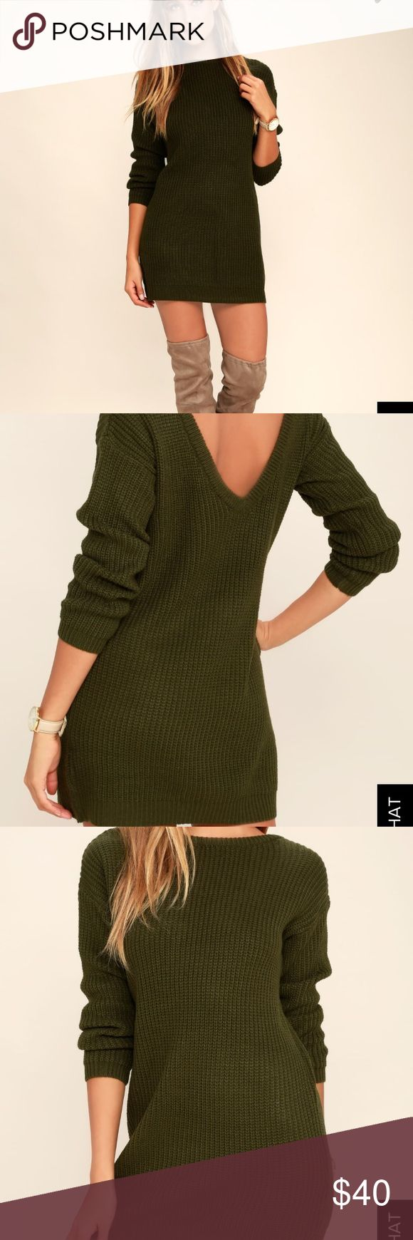 Olive green sweater dress NEW with tag. Never worn Lulu's Dresses Midi