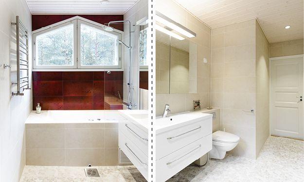 Kylpyhuone, n. 6 m². Toisen kerroksen kylpyhuoneeseen tehtiin kompakti koti-spa. Pehmeät ja maanläheiset sävyt terästettynä tyylikkäällä tehostevärillä tekevät tilasta tunnelmallisen. Poreamme on koteloitu wedi-rakennuslevyllä ja laatoitettu. Kaikki ulkokulmat on jiirattu.