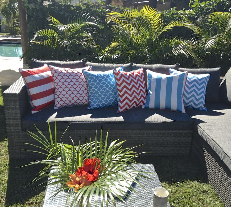Blue / Red reversible mix and match outdoor UV treated, mildew and water proof cushion covers 45x45cm available online from www.beachabodeliving.com.au
