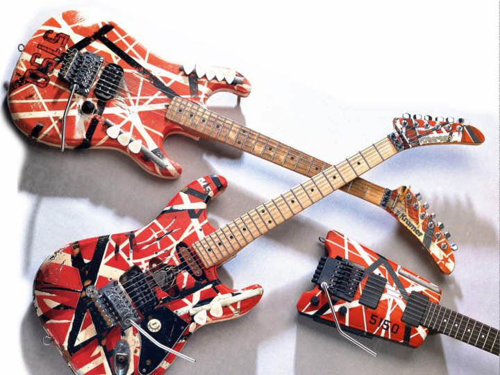 Van-Halen's 5150 guitar trinity: 2 FrankenStrats & a Steinberger. They got used, all right.