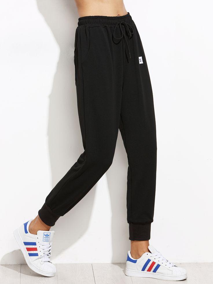 Pantalons décontractés avec cordon - noir-French SheIn(Sheinside)