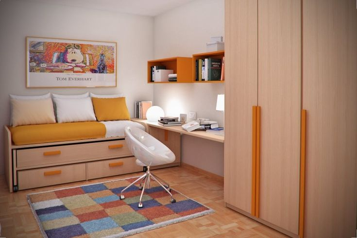 in Teen Small Bedroom Design Ideas By Sergi Mengot with Bookshelves - Ideas for small bedrooms