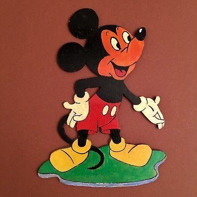 1950er GRAUPNER / GRAUBELE Micky Maus 19 cm Laubsäge-Figur / Holz Wand (333)