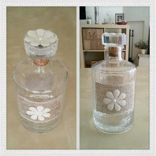 Handicrafts: Διακόσμηση Βάζου και Μπουκαλιού - Recycled whisky bottle! #recycled #decorationbottle