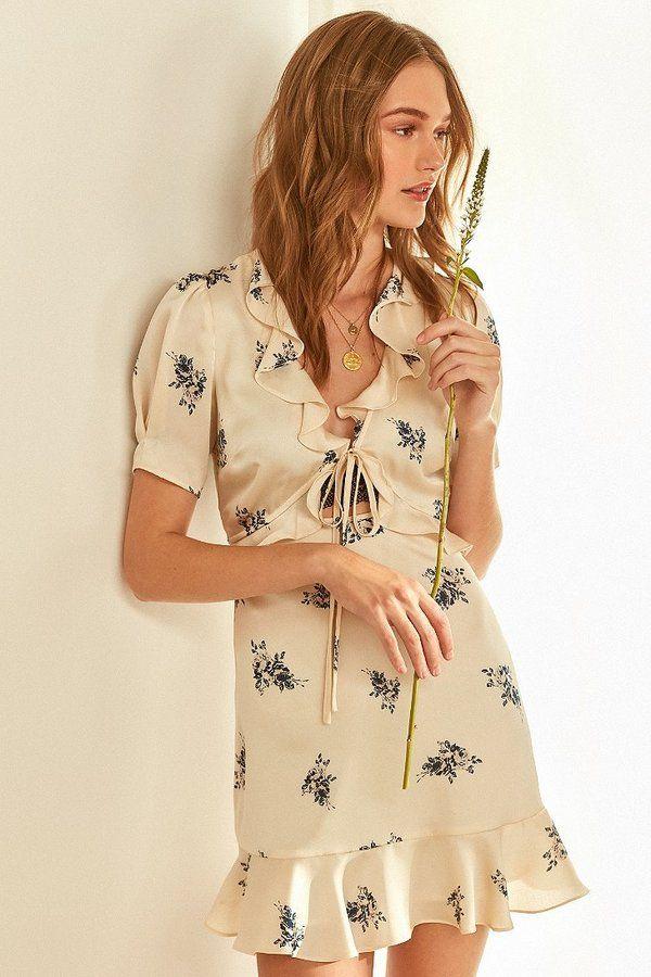 ASTR Billie Tie-Front Ruffle Mini Dress