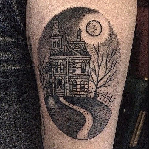 Haunted House Tattoo by Suflanda