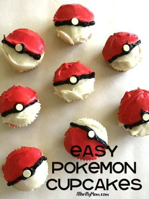 Easy Pokemon cupcakes These Pokemon cupcakes were so fun to make with my son for his Pokemon birthday party. So easy to make, you don't need any cake decorating talent to make them look great. The kids loved them! After the cupcakes are baked, divide your icing in half.