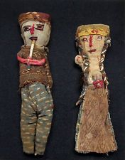 PAIR of Pre-Columbian CHANCAY CLOTH DOLLS, Northern Peru, circa 1200 - 1500 AD