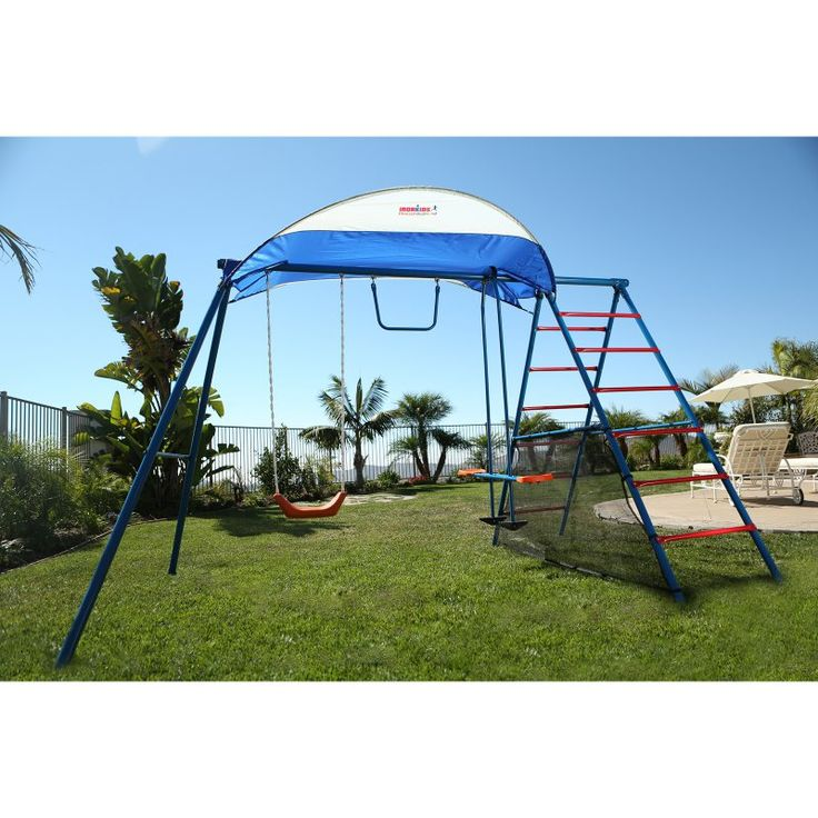 Ironkids Inspiration 100 Metal Swing Set with Ladder Climber & UV Protective Sunshade - 8010
