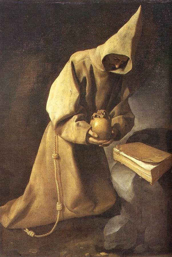 Francisco de Zurbaránm Meditation of St Francis 1632  Balenciaga source