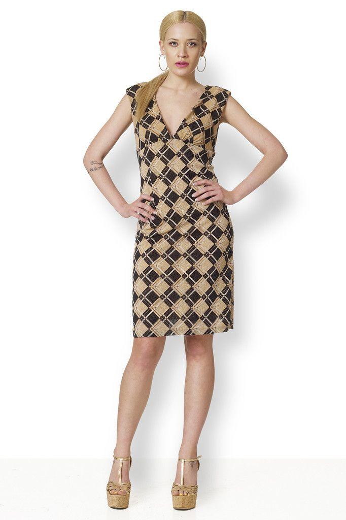 ΦΟΡΕΜΑ ΚΑΡΩ Φόρεμα από ζέρσεϋ ελαστικό, καρώ με μπεζ και μαύρο. Ταιριάζει υπέροχα με ηλιοκαμένη επιδερμίδα.