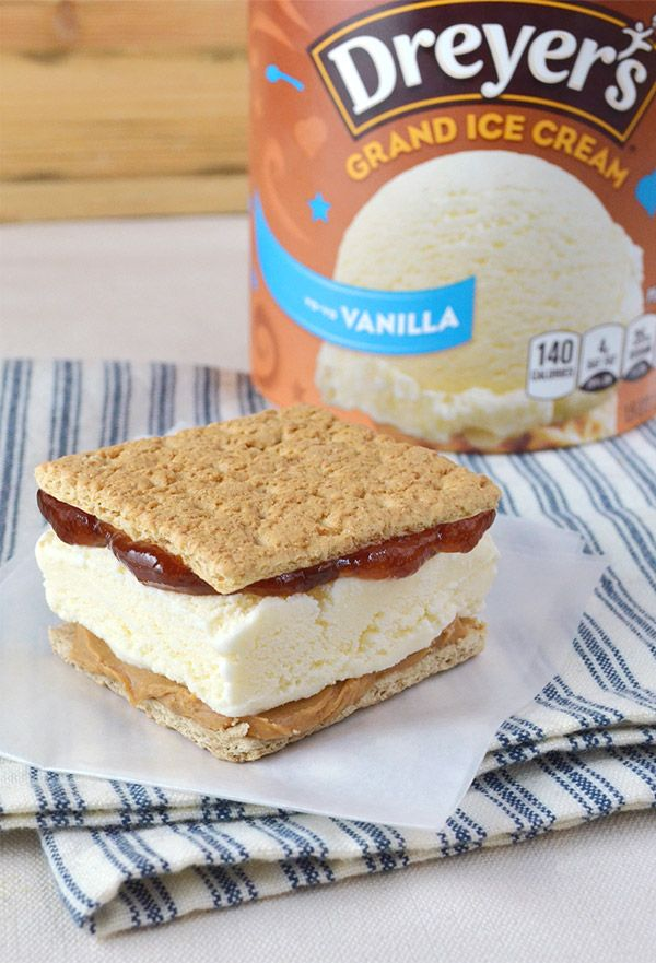 PB&J Ice Cream Sandwich: Every kid's favorite sandwich just got a lot cooler. For a delicious Dreyer's ice cream treat that's both crunchy and gooey, just sandwich Vanilla ice cream between two graham crackers coated in peanut butter and jelly, bring to your lips and devour! No crust-cutting required!