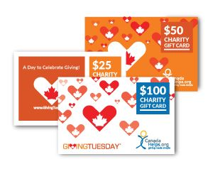 Give back this GivingTuesday with a CanadaHelps Charity Gift Card! There is no better way to participate in GivingTuesday and spark the giving spirit in others! #GivingTuesday #Gifts #GivingTuesdayCa
