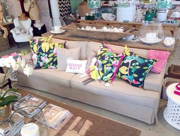 Exotic birds cushions - we just love these! #magnoliainteriors #cushion #custom #linen #comfysofa