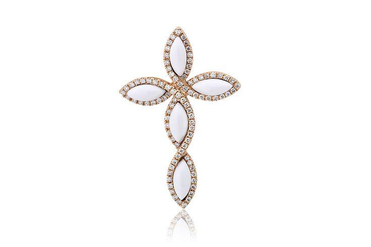 Σταυρός με διαμάντια μπριγιάν κοπής 0,67CT & λευκό ακρυλικό 2,32CT από ροζ χρυσό 18Κ. Cross with brilliant cut diamonds 0,67CT & white acrylic 2,32CT made by 18K rose gold. Price : 1450€