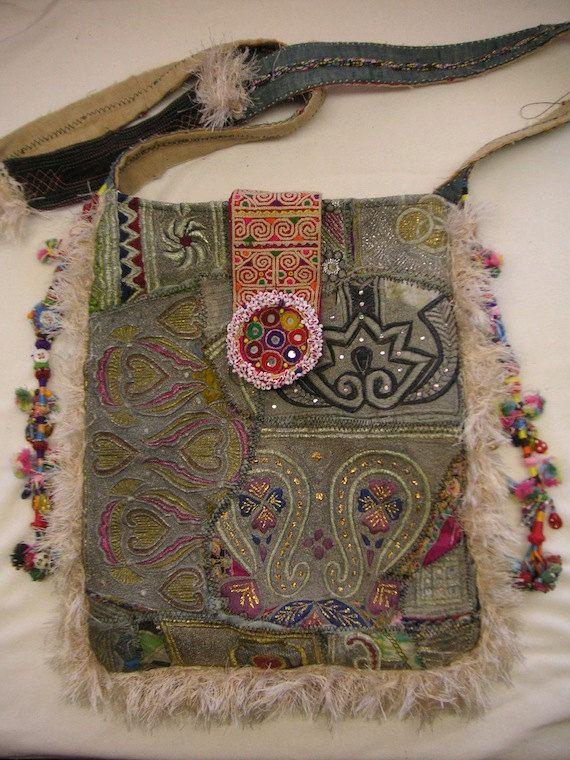 Boho hippie Recycled Antique Textiles Shoulder by HappyHatzs.