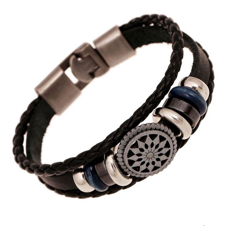 Vintage Men Jewelry Genuine Leather Bracelets & Bangles Braided Charm Bracelets For Men /Women Unisex Jewelry pulseira homens