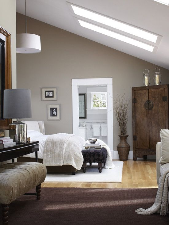 Color, slope ceiling, skylights, carpet/wood combo flooring. Nice: Decor, Wall Colors, Ideas, Masterbedroom, Paintings Colors, Skylights, Colors Schemes, Sky Lights, Master Bedrooms
