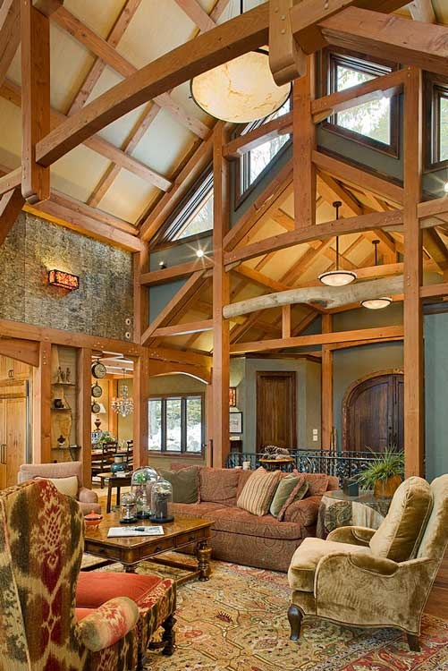 A stunning great room in north carolina photo by roger for Timber frame great rooms