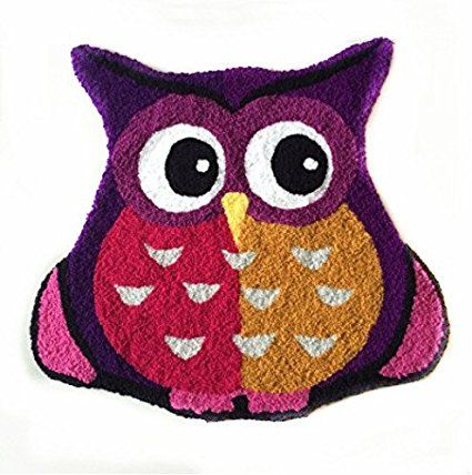 Ustide Purple Owl Rug Handmade Rug Owl Design Bathroom Mat Children's Cartoon Rug Non-Skid Floor Mat Small
