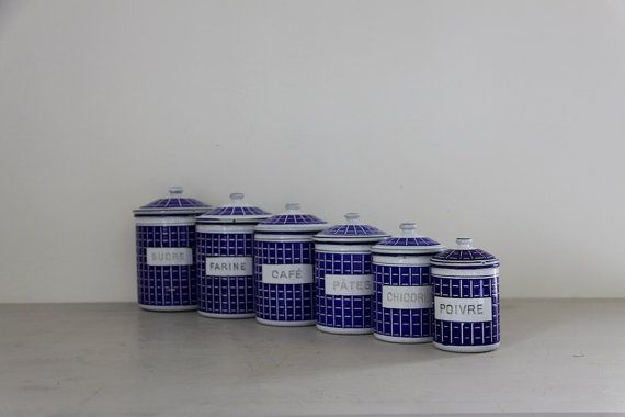 Antique French Enamel Kitchen Canister Set in Blue & White Plaid