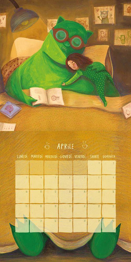 Abril / Ilustración y diseño para calendario 2017 de juguetería Cittá del sole, Italia. Témperas y lápices de colores.
