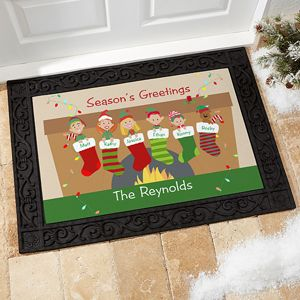 So cute! You can turn each of your family members into cartoon characters on this personalized Christmas doormat - even pets! Such a cute Christmas decoration!