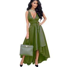 Seksi Maxi Elbise Derin V Boyun Ordu Yeşil Kolsuz Ücretsiz kemer Parti Kadın Yaz Uzun Elbise Casual Düzensiz robe Longue WYZ7180(China (Mainland))