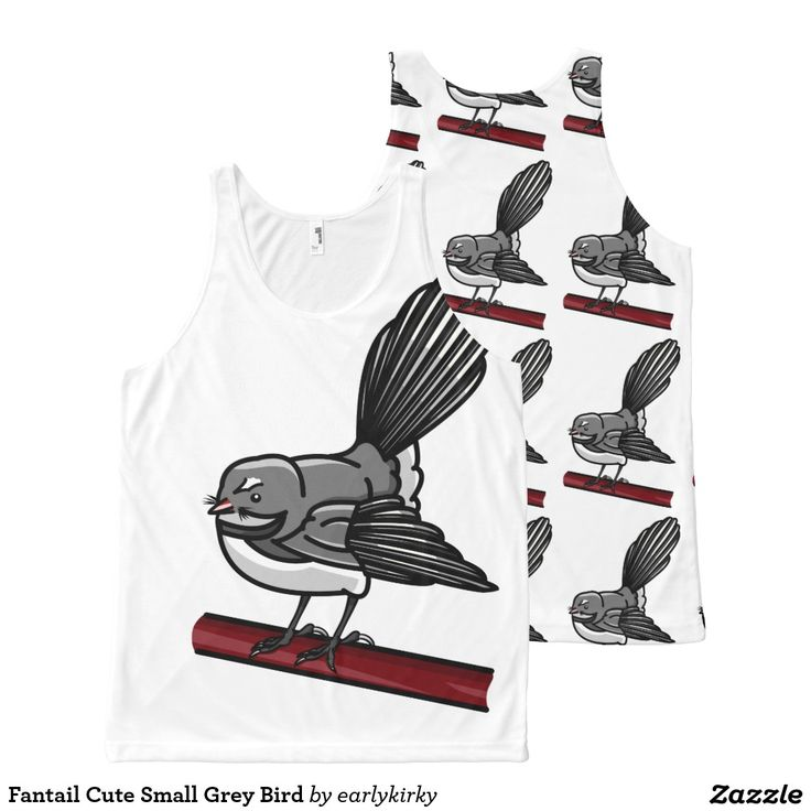 Fantail Cute Small Grey Bird All-Over Print Tank Top